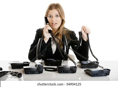 Beautiful woman working on a helpdesk answering a lot of calls at the same time