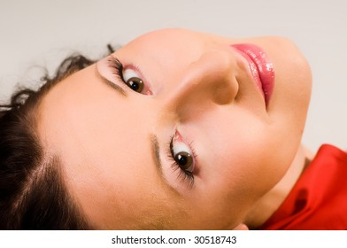 beautiful woman's face close up