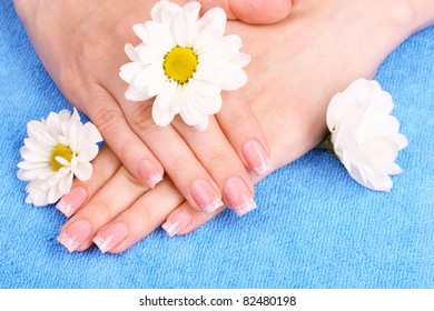 beautiful woman's hands and flowers on blue background