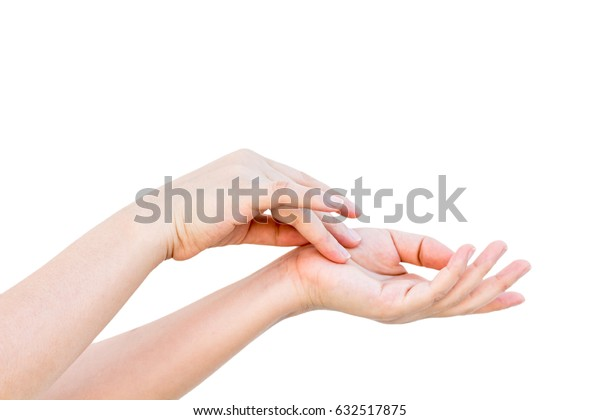 Beautiful woman's hands isolated on white background