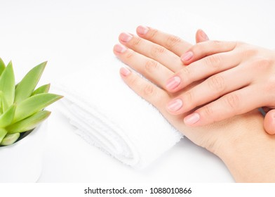 Beautiful woman's hands with perfect manicure. Spa and  beauty salon. Soft skin, the concept of nail care.