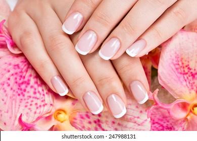 Beautiful woman's nails with beautiful french manicure