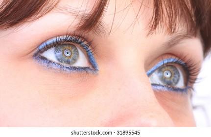 beautiful woman`s open eye