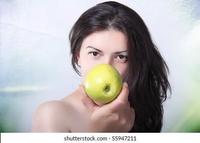 beautiful women with apple