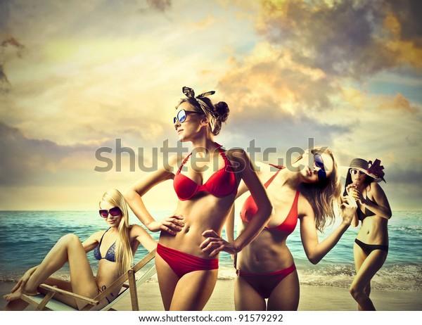 Beautiful women in bikini at the seaside