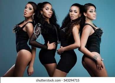 beautiful women in black clothes