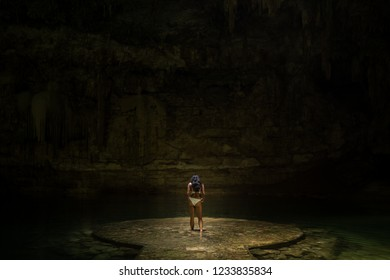 Beautiful women in the Cenotes of Mexico