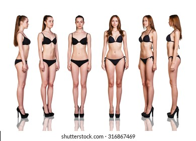 Beautiful women in full growth stand over white background
