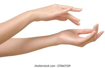 Beautiful women hands isolate, applying cream, massaging
