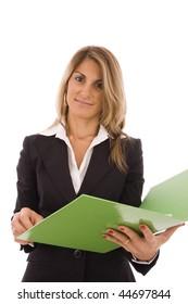 Beautiful women holding an open green folder