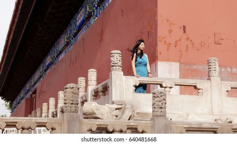 Beautiful women in the Imperial Palace, Beijing, China