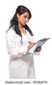 Beautiful women medicine doctor with pen and notepad