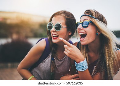 Beautiful women outdoor having fun and laughing