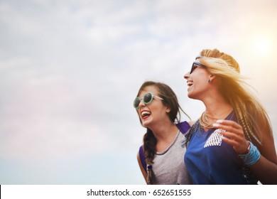 Beautiful women outdoor having fun