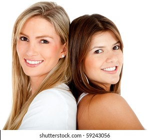 Beautiful women portrait smiling - isolated over a white background
