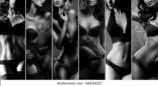 Beautiful women posing in underwear. Black and white lingerie collage.
