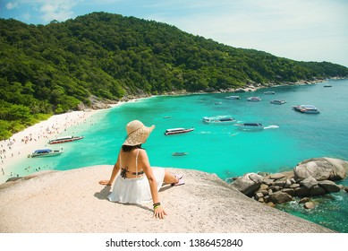 Beautiful women scenic ride Beautiful sea and blue sky at Similan island, Phuket,Thailand. - Image