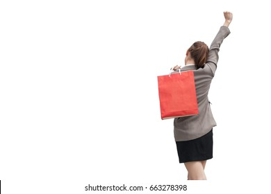 Beautiful women shopping  isolated on white.