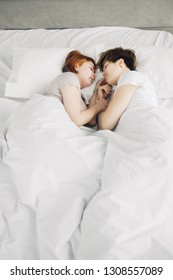 Beautiful women sleep in bed at home, sleeping time. two awesome girls relaxing on the bed