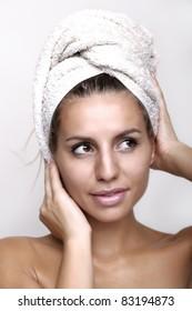 Beautiful women with towel - bath, cosmetics