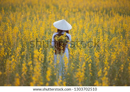 Beautiful Women Traditional Vietnamese Culture Ao Stock