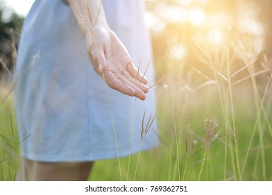 Beautiful women wearing blue dresses, hands to the grass. Alone happily