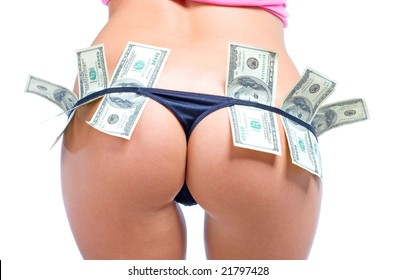 Beautiful women's buttocks in sexy black panties with dollars