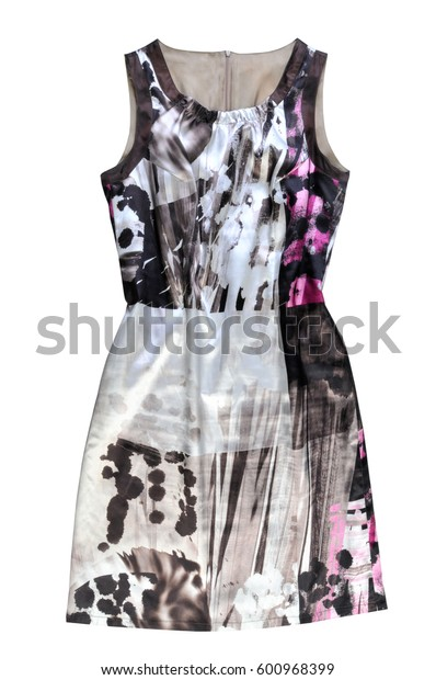 beautiful women's dress in abstract print isolated on white background. Clothes