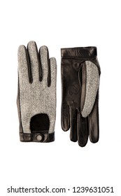 Beautiful Women's gloves made of genuine leather and fabric