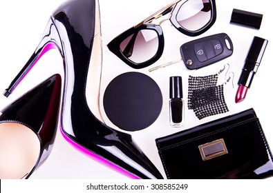 beautiful women's minimal set of fashion accessories on white background. Good for blogs or magazines, pinterest or instagram. Partly isolated with a shadows.