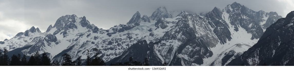 beautiful and wonderful Snow Mountain winter view,and hiking famous place, wide range - Jade Dragon Snow Mountain or Mount Yulong in Lijiang, Yunnan province