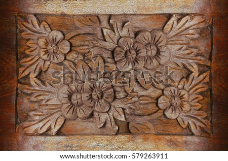Beautiful wood carving flowers wooden floral stock photo edit now