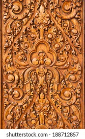 Beautiful wood carving in local art style, background