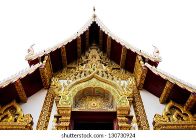 beautiful wood carving pattern in front of the temple
