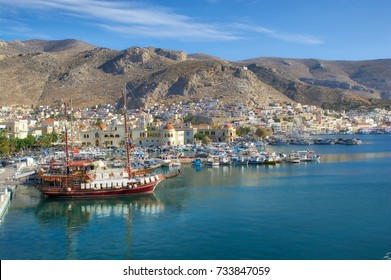 A beautiful wood ship at the port of Pothia, Kalymnos, Greece
