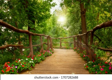 Beautiful wooden bridge leading to a park