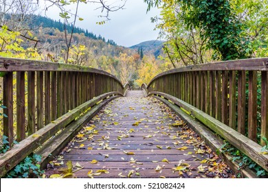 Beautiful wooden bridge over the river Fluvia (at Castellfollit de la Roca village, Catalonia, Spain).
