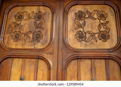Beautiful wooden door in Barcelona Spain