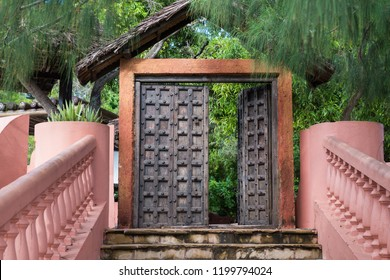 Beautiful wooden door at Prison island, Zanzibar