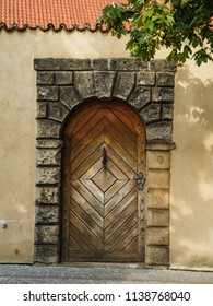 Beautiful wooden doors on the evrope streets. Sun day