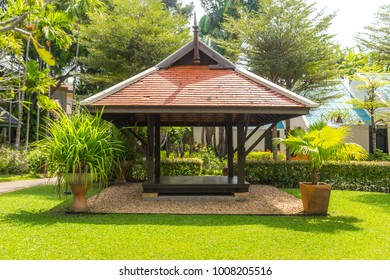 beautiful wooden gazebo in tropical nature