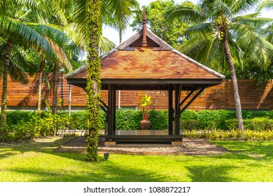 beautiful wooden gazebo in tropical nature