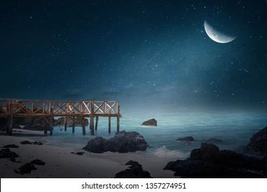 Beautiful wooden half-moon bridge