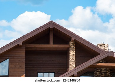 Beautiful wooden house in countryside. Modern style.