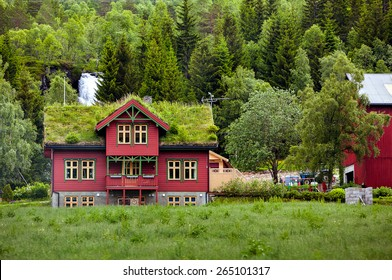 Beautiful wooden house with grass on the roof in Norway in cloudy weather