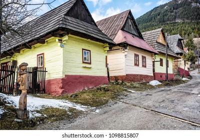 Beautiful wooden houses in Vlkolinec village, Slovak republic, Unesco. Travel destination. Cultural heritage.