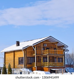 Beautiful wooden house.Winter village.