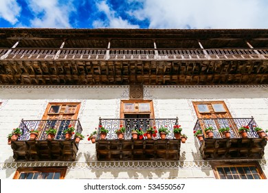 beautiful wooden old balconies with flower pots in La Orotava in Tenerife, Canary Islands, Spain