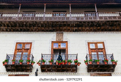 beautiful wooden old balconies in La Orotava in Tenerife, Spain