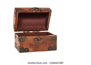 Beautiful wooden opened empty box with an iron forged lock on a white background. Isolated